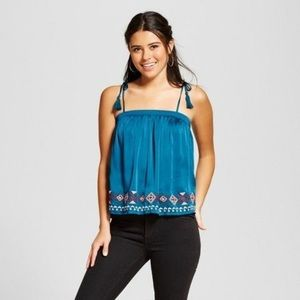 Target brand silky teal tank top with embroidery